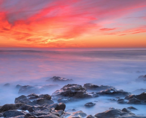 Misty sunset in Sedgefield, South Africa