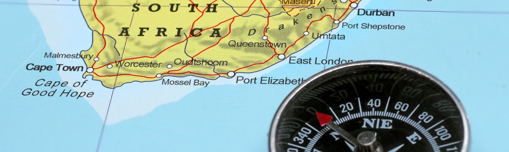 Compass with a map of South Africa